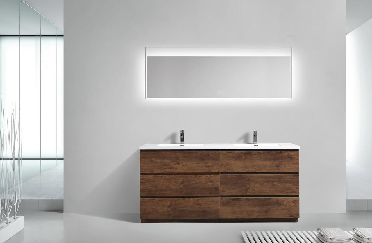 Angeles 72 Double Sink Modern Bathroom Vanity W 6 Drawers And Acrylic Sink Tona Bathroom Vanity