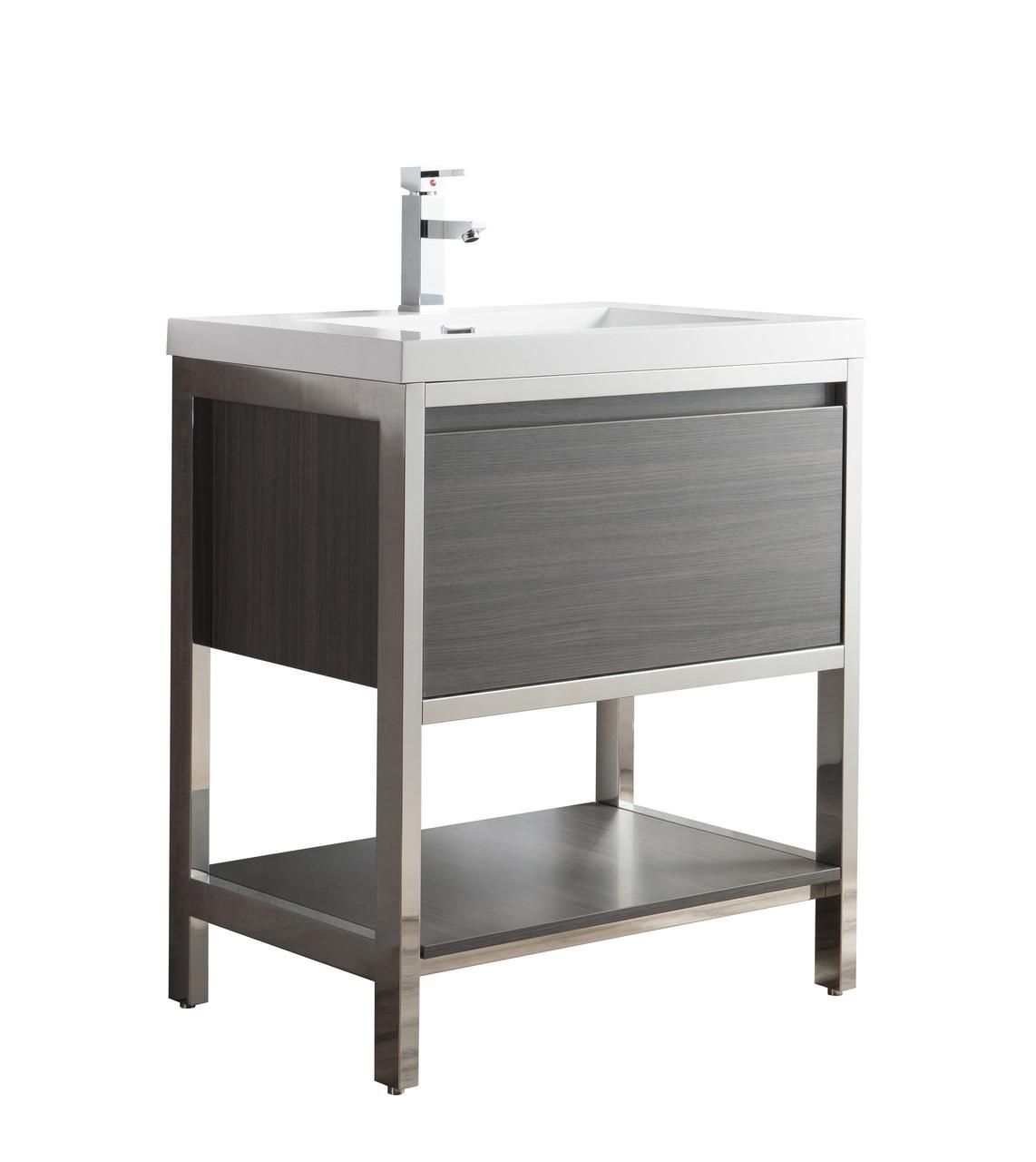 Lake 30 Freestanding Modern Vanity With Chrome Stainless Steel Frame
