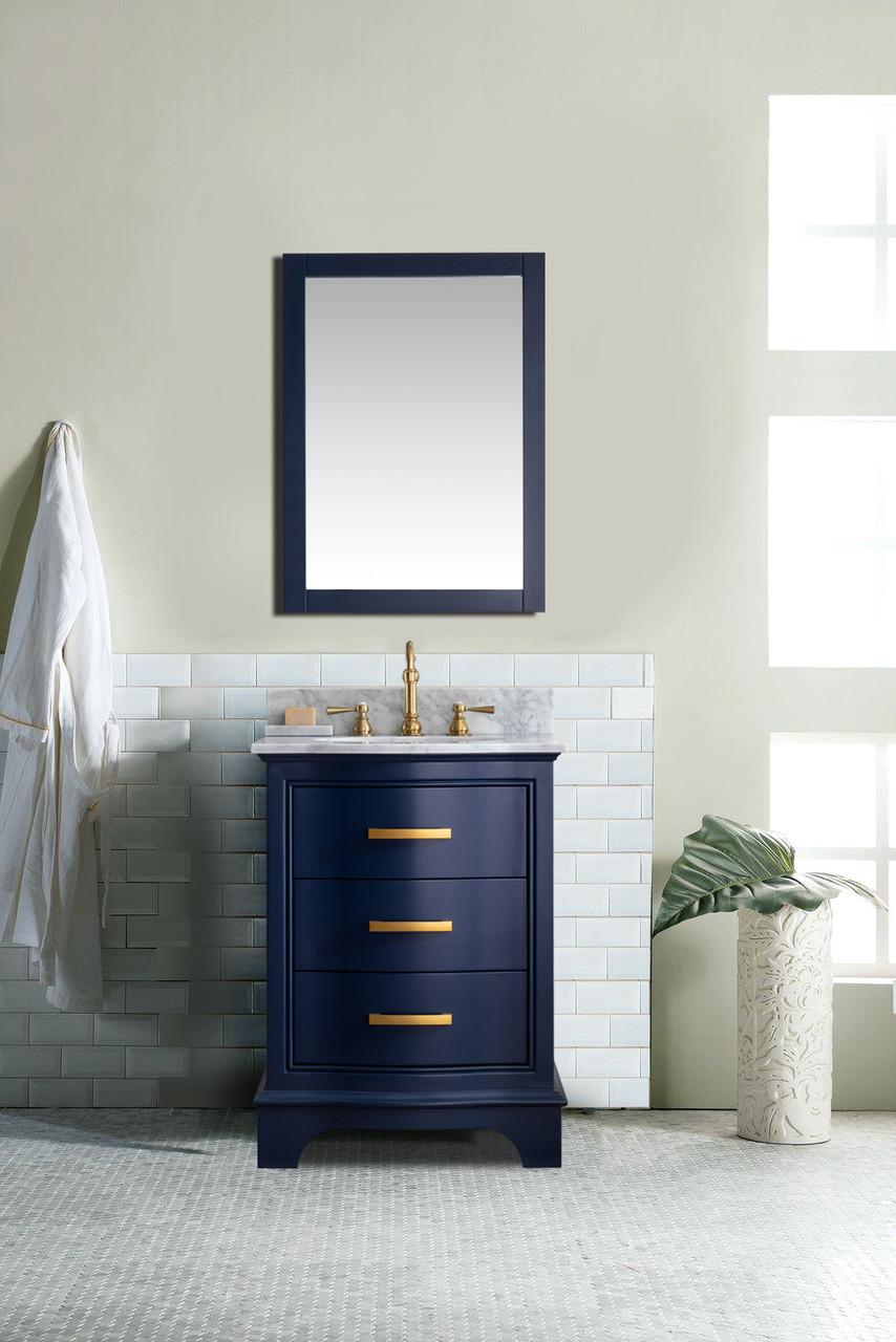 Monroe 24 Midnight Blue Solid Wood Vanity With Marble Counter Top Tona Bathroom Vanity