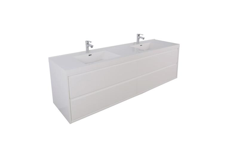 "Sage 60"" Double Sink Wall Mounted Modern Vanity"