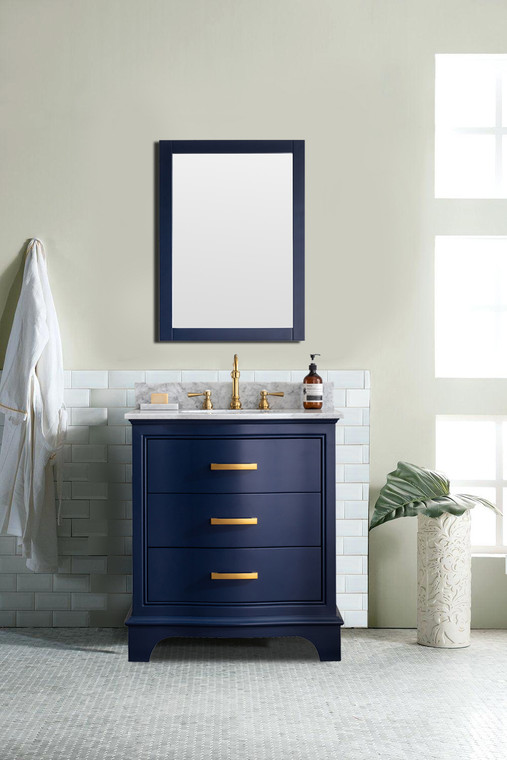 MONROE 30'' WHITE SOLID WOOD VANITY WITH MARBLE COUNTER -TOP