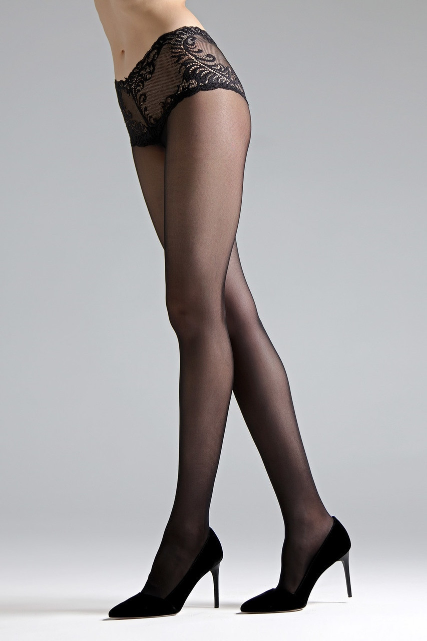 f212104fc Natori Feathers Lace Top Tights