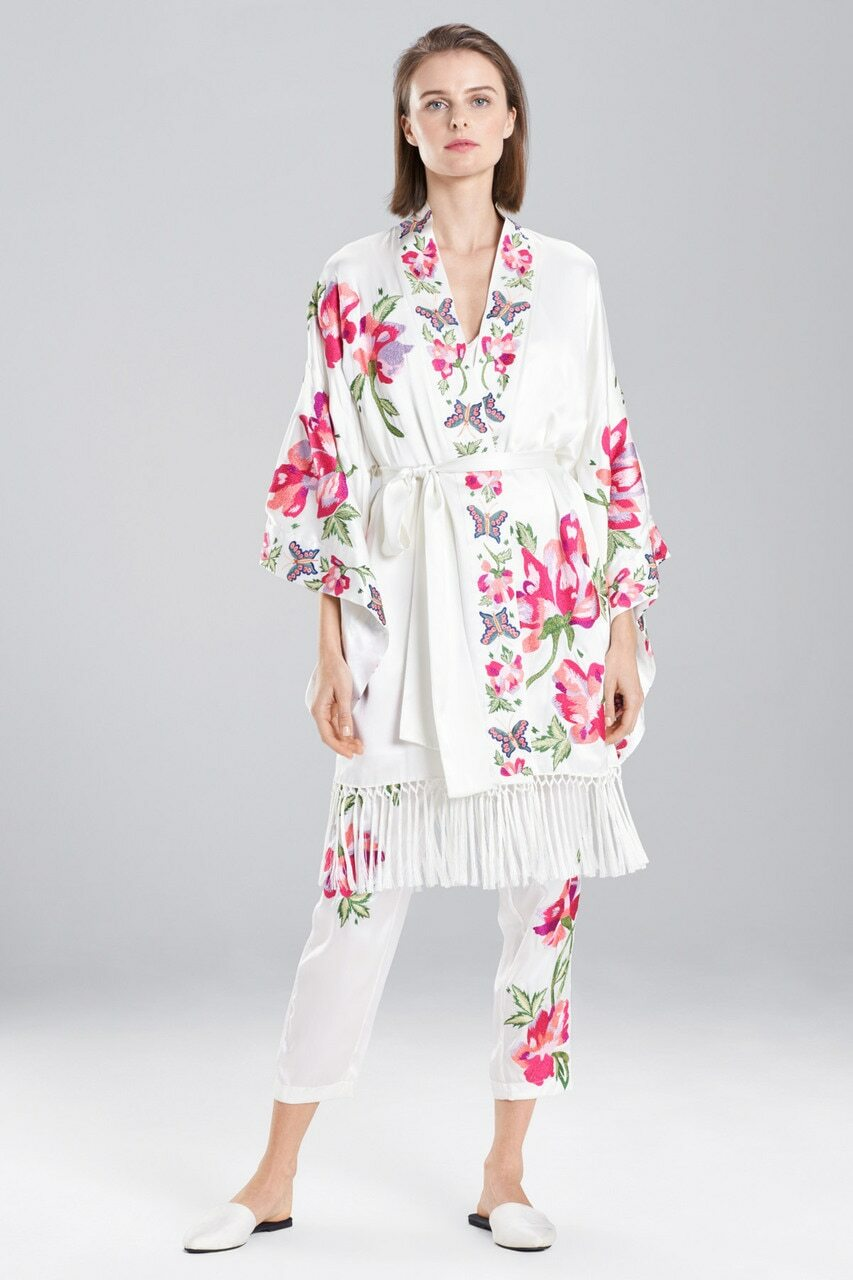 7386a9d65 Lily Embroidery Fringe Kimono