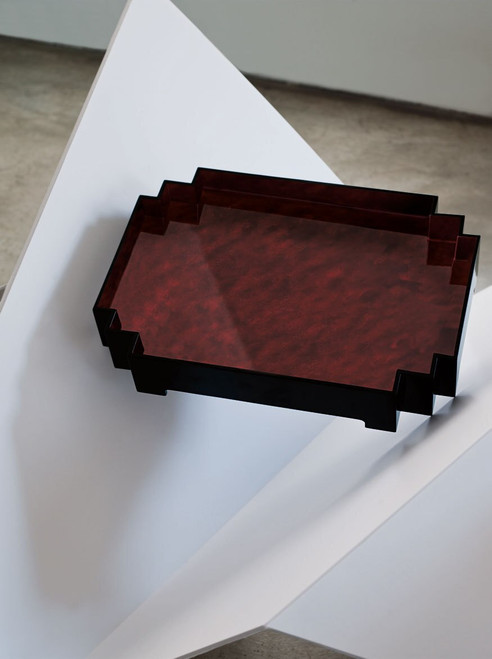 Lacquer Curved Tray with Tapered Edges at The Natori Company