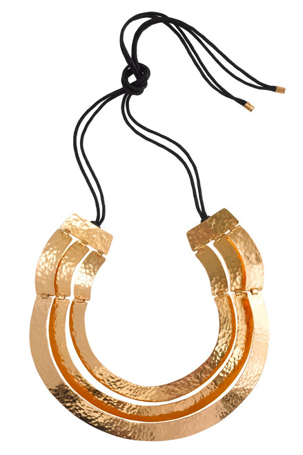 Buy Hammered Gold Three Layer Necklace from