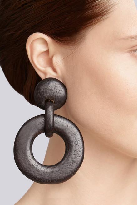 Josie Natori Wood Link Earrings at The Natori Company
