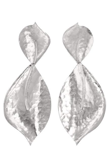 Buy Hammered Metal Two Leaf Earrings from
