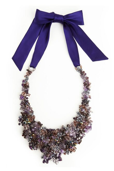 Beaded Bib Necklace - Royal Purple