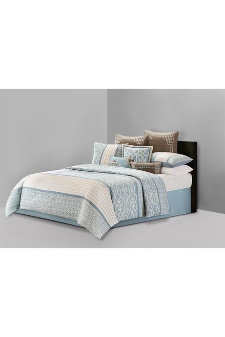 Buy N Natori Fretwork Aqua Comforter Set from