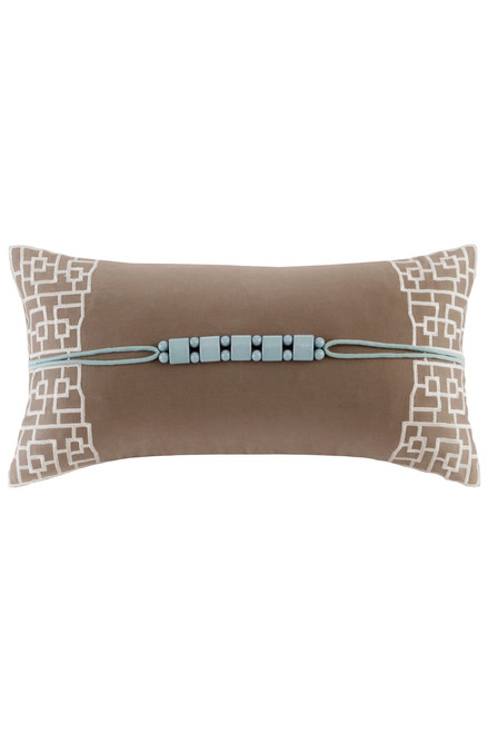 Buy N Natori Fretwork Aqua Short Oblong Pillow from
