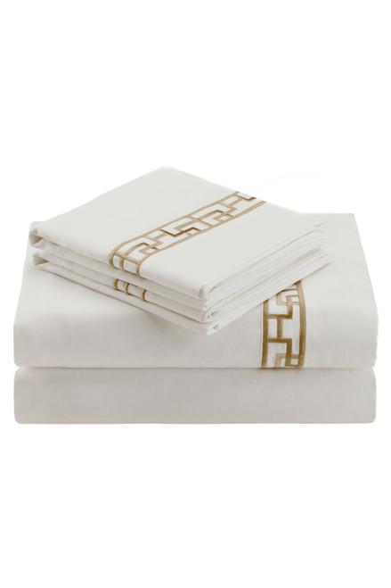 Ming Fretwork White/Champagne Sheet at The Natori Company