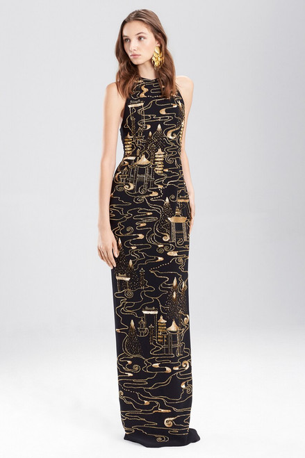 Buy Josie Natori Crepe Halter Dress With Gold Beading from
