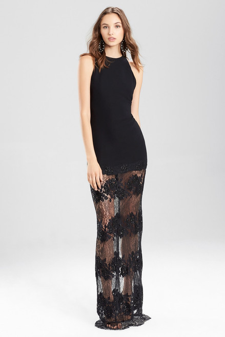 Crepe Halter Dress With Punch Needle Lace