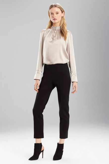 Stretch Silk Mandarin Collar Top