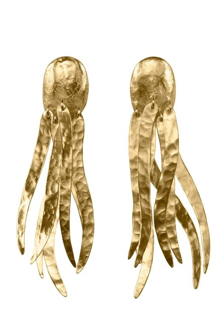 Josie Natori Gold Brass Dangling Narrow Earrings at The Natori Company