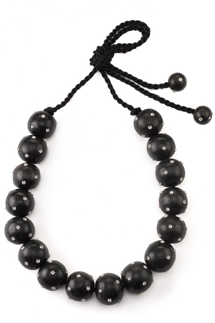 Josie Natori Acacia Wood With Silver Long Round Necklace at The Natori Company