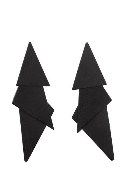 Acacia Wood Triangle Clip Earrings