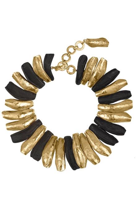 Josie Natori 24K Goldplated Brass With Darkwood Necklace at The Natori Company