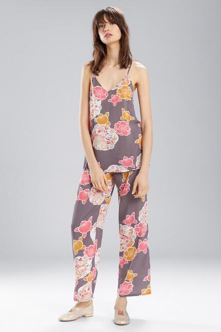 Enchanted Garden PJ Set Charcoal With Hibiscus