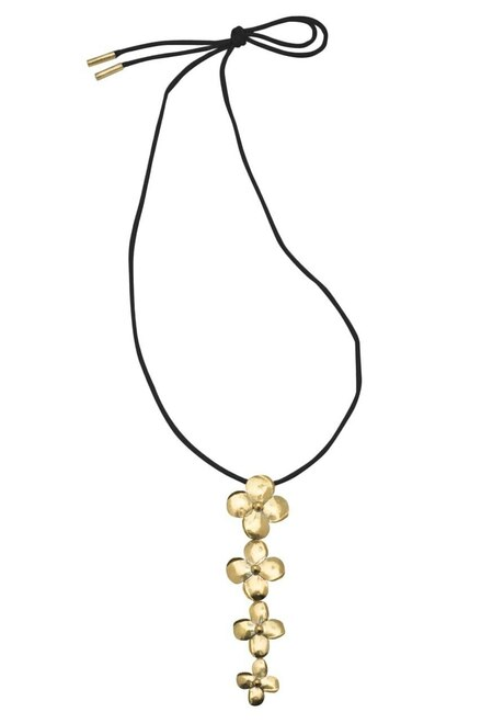 Long Brass Flower Necklace