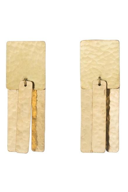 Buy Josie Natori Hammered Brass Fringe Earrings from