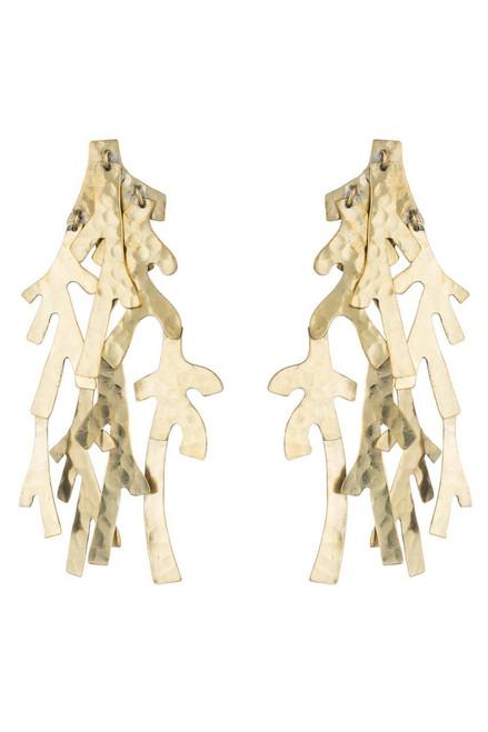 Josie Natori Hammered Brass Earrings at The Natori Company