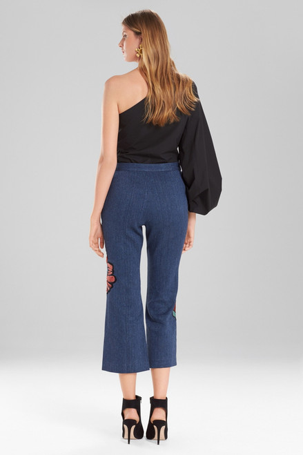 Josie Natori Casual Twill Flare Pants With Embroidery at The Natori Company