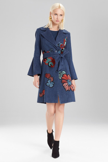 Buy Josie Natori Casual Twill Trench Coat With Embroidery from