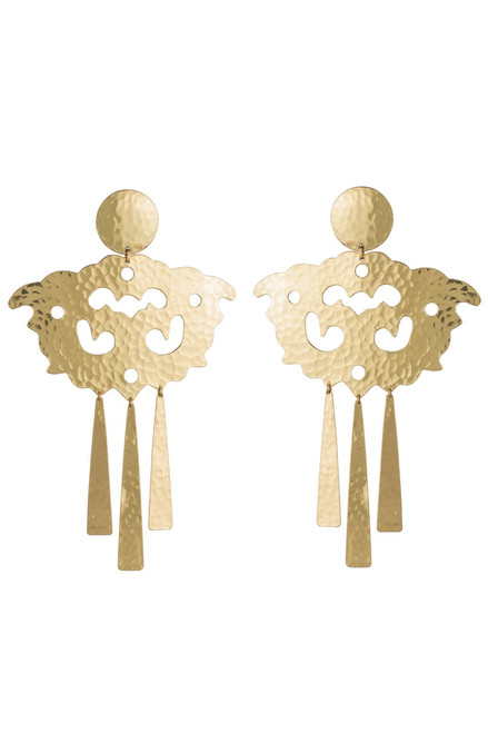 Josie Natori Hammered Brass Swirl Fringe Earrings at The Natori Company