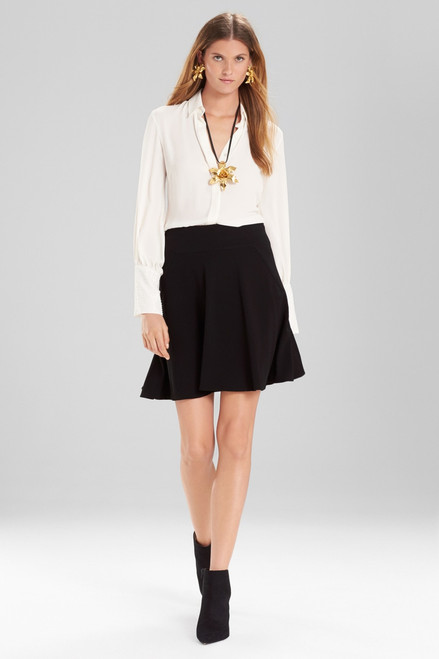 Josie Natori Knit Crepe Ruffle Skirt at The Natori Company