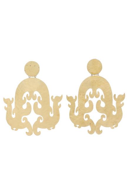 Buy Josie Natori Hammered Brass Swirl Earrings from