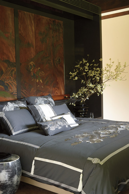 Natori Sterling Dragon Duvet Cover at The Natori Company
