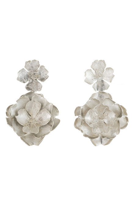 Buy Josie Natori Silver Plated Brass Peony Earrings from