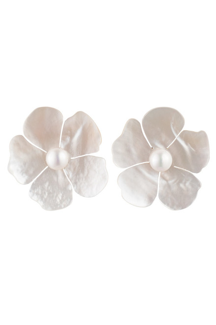 Josie Natori Mother Of Pearl Peony Earrings at The Natori Company