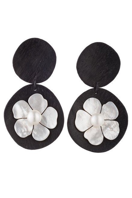 Acacia Wood Drop Clip Earrings With Mother of Pearl