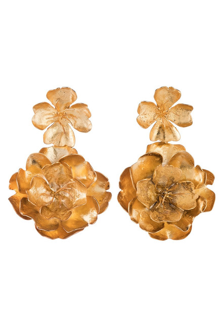 Buy Josie Natori Gold Brass Double Peony Earrings from