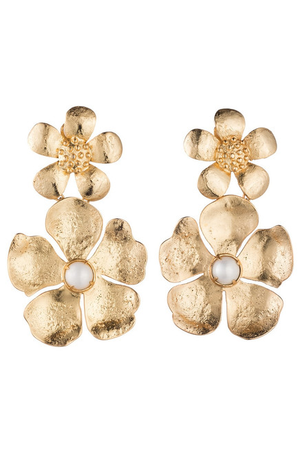 Buy Josie Natori Gold Brass Double Peony Earrings With Pearl from