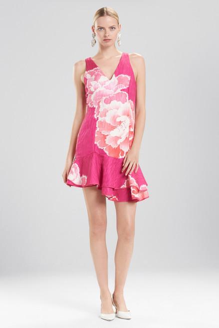 Josie Natori Peony Jacquard Ruffle Hem Dress at The Natori Company