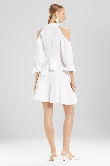 Josie Natori Cotton Poplin Cold Shoulder Dress at The Natori Company