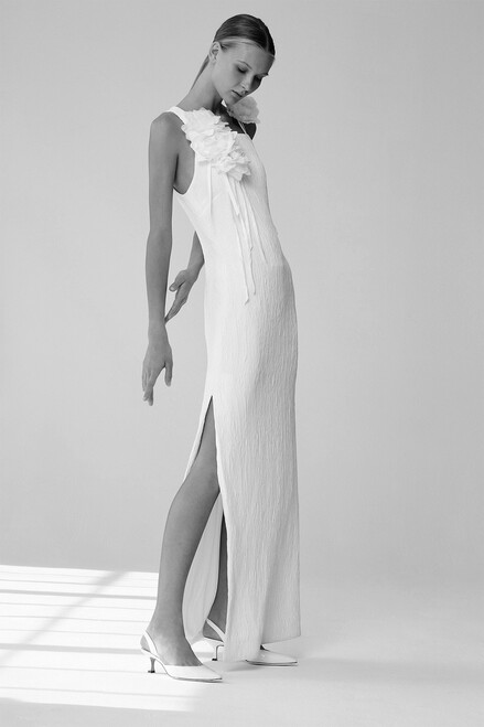 Josie Natori Plisse Gown With Corsage at The Natori Company