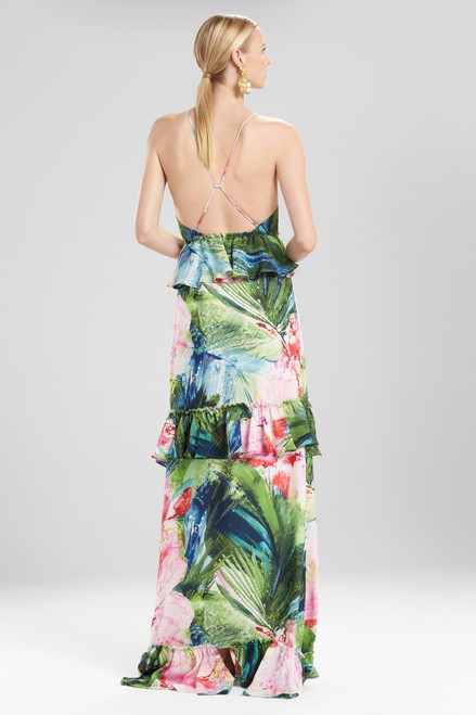 Josie Natori Sunset Palms Tiered Maxi Dress With Corsage at The Natori Company