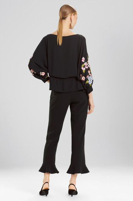Josie Natori Silky Soft Poet Top With Embroidery at The Natori Company