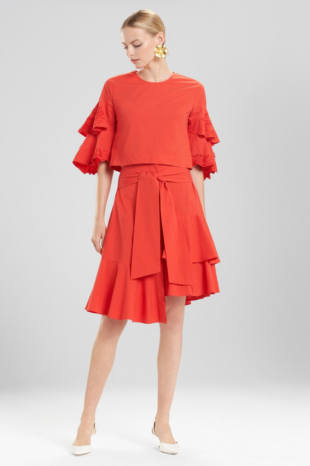 Buy Josie Natori Cotton Poplin Tiered Sleeve Top With Embroidery from