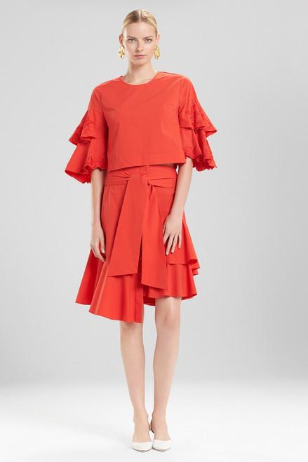 Josie Natori Cotton Poplin Tie Front Skirt at The Natori Company