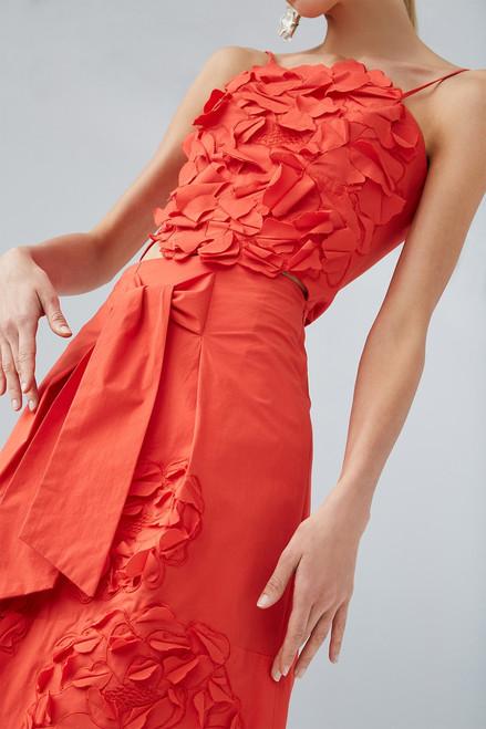 Josie Natori Cotton Poplin Skirt With Embroidery at The Natori Company