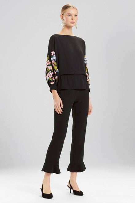 Josie Natori Core Crepe Cropped Ruffle Pants at The Natori Company