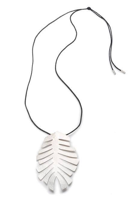 Buy Josie Natori Buffed Brass Leaf Necklace from