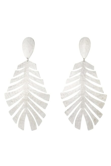 Buy Josie Natori Buffed Brass Leaf Earrings  from