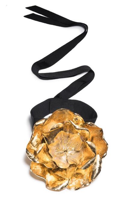 Buy Josie Natori Gold Plated Brass Large Peony Choker from