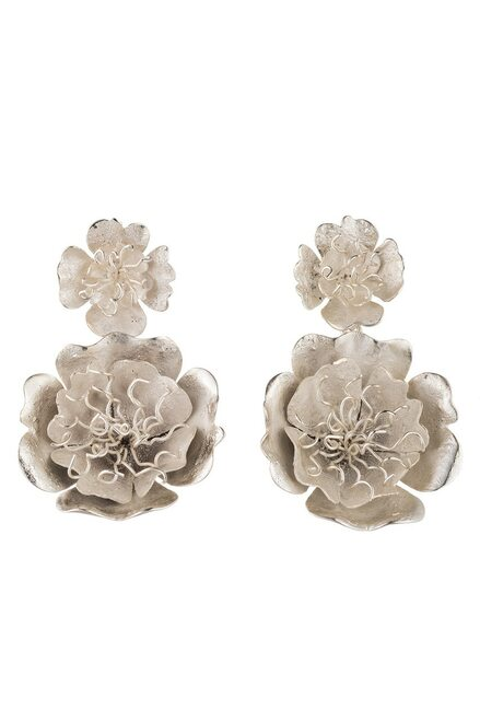 Silver Plated Brass Peony Drop Clip Earrings
